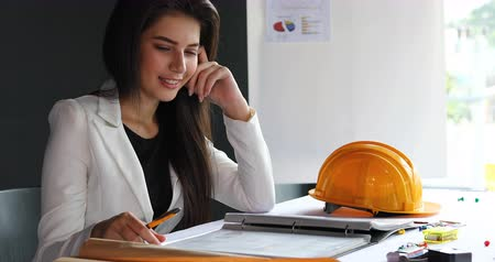 woman engineer construction manager working in site business office industry Стоковые видеозаписи