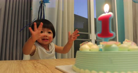 happy birthday celebration party 1 years old of baby boy with one candle light on cake