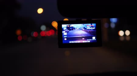 cars traffic : video camera in car driving on night road