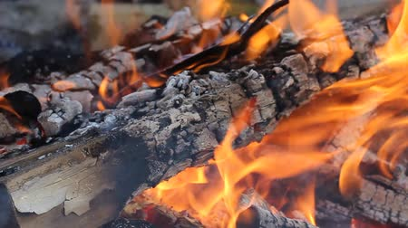 perigoso : Burning Logs. Fire flame. Hot logs burn together in a hot fire.