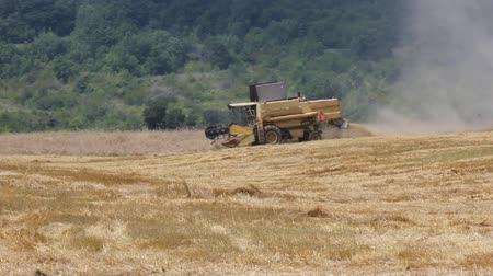farm equipment : Agriculture - Combine (harvester) on the field.