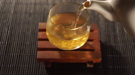 black tea : Tea. Chinese tea. Puer sort of tea Stock Footage