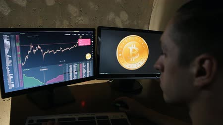financial : Man earns bitcoins on the financial market on computer