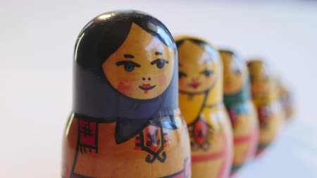 aninhada : Close up of Matryoshka Doll on a white background in 4k
