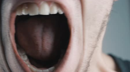 řvát : Close-up of angry man screaming against white background.