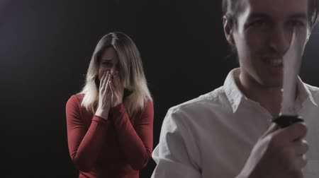 zdrada : Domestic Violence. Evil husband with a knife wants to kill his wife