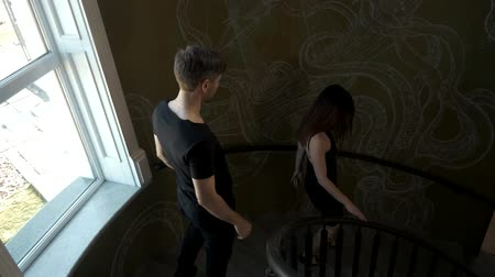 compromise : The girl left the guy. The man wants to return the woman. A break up. Stock Footage