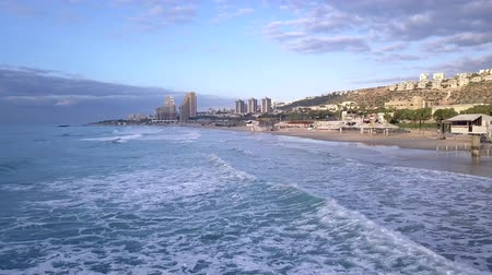 Aerial view of Haifa beach hotels area seashore.