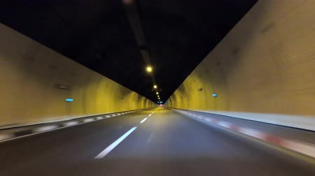 tünel : Tunnel Driving : Car driving through a road tunnel. Stok Video