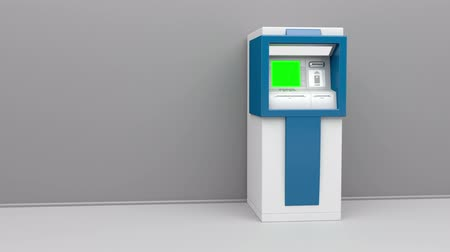 schermen : ATM-machine, de camera zoomt in op groen scherm Stockvideo