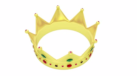 coroa : Crown rotates on white background Vídeos