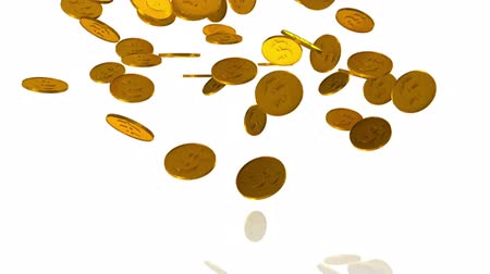 tempo : Golden dollar coins fall on white background