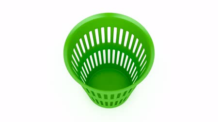 szemét : Green waste basket on white background