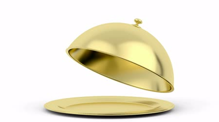 lids : Animation of opening golden restaurant cloche