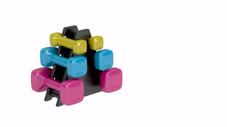 kopya : Rack with plastic dumbbells with different sizes and colors