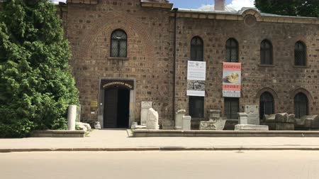 sofia : SOFIA, BULGARIA - MAY 28, 2018: The entrance of the National Archaeological Museum in the centre of Sofia, Bulgaria Stock Footage