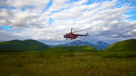 View on the helicopter takeoff in the Kronotsky Nature Reserve on Kamchatka Peninsula, Russia Dostupné videozáznamy