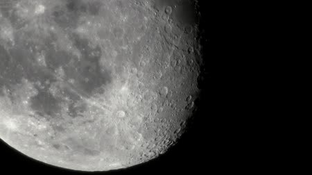 Moon With Craters Filmed Through A Telescope Wideo