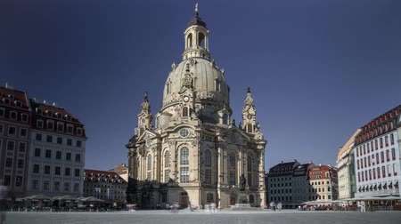 Church Of Our Lady Frauenkirche In Dresden Germany day to night Timelapse Wideo