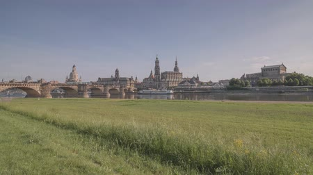 Hyperlapse Timelapse Along The Elbe River In Dresden Germany Wideo