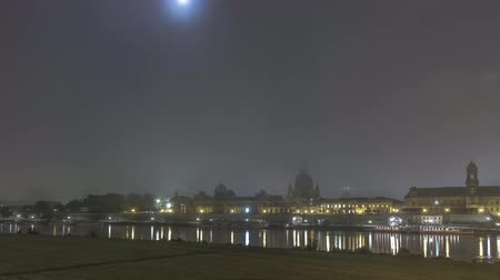 Fog Night Timelapse In Dresden Germany With Full Moon At The Elbe River