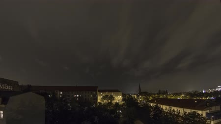 Heavy Lightning Storm Thunder Over Dresden City In Germany Timelapse