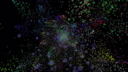 jelenség : Animation of color powder explosion on black background