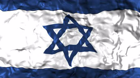 intricacy : Israel flag animated, waving flag composed by a blue David star made of thin lines with six points and three lines in blue and white, fabric texture background