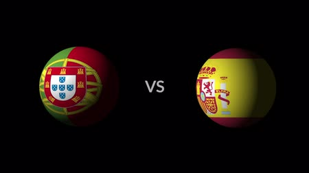 qualification round : Soccer competition, national teams Portugal vs Spain Stock Footage