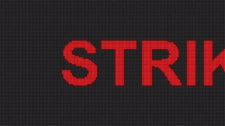 road sign : Strike display in digital pin with emitting LED light Stock Footage