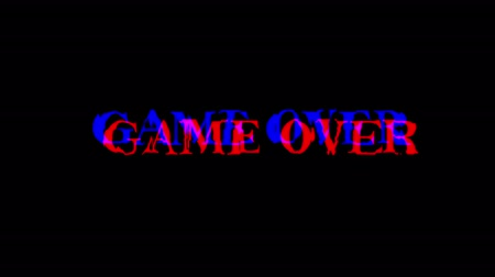 erreur : GAME OVER text glitch effect. Unique design abstract digital animation pixel noise glitch error video damage