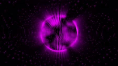 konuları : Digital sound wave circle abstract illusion object, motion background bxplosion with particles and sphere Stok Video