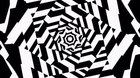 persuasion : Black and White Wavy Lines Intersect in the Center. The Visual Illusion Of Movement. Hypnotic illusion seamless loop