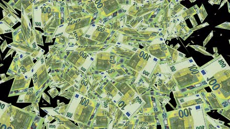 konuları : 100 Euro Bills, Falling Euro banknotes animation Stok Video