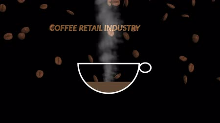 Coffee beans falling into the white coffee cup. Coffee retail industry, marketing concept