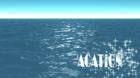 Sea surface formed by glowing particles and text, LETS GO VACATION. Travel concept