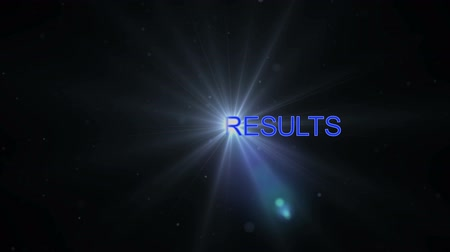 Text SPORTS RESULTS with beautiful optical flare effect created by colorful light, abstract light background Wideo