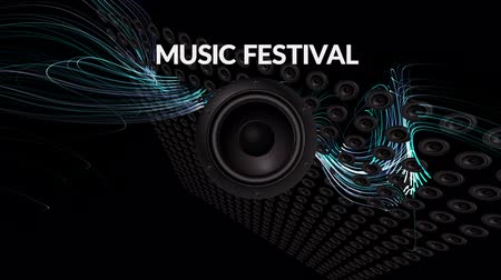 reproduktory : Audio speaker vibrates with Text MUSIC FESTIVAL, music industry, marketing concept