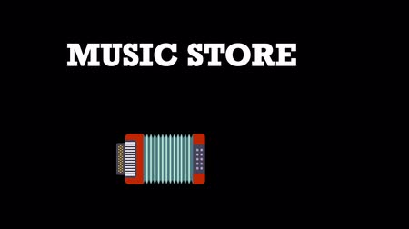 Cartoon animation of music icons with text MUSIC STORE. Music background. Music and Entertainment concept