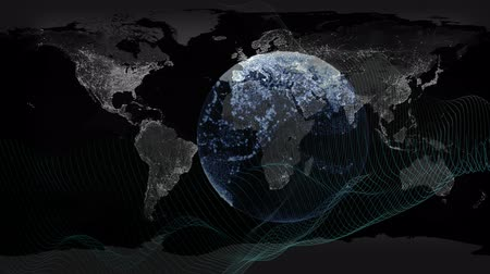Unusual spherical network background with abstract wavy lines. Footage can be used as radar control, internet wireless, radio waves, spy and Satellite control