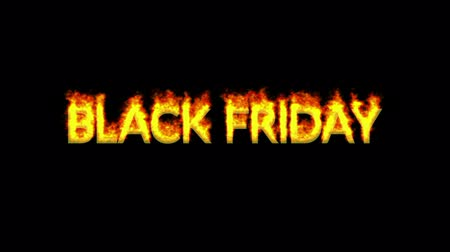 Animation of BLACK FRIDAY text appearing on fire against black background Wideo