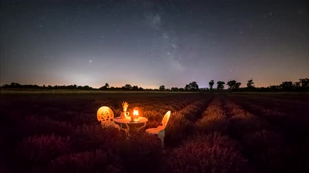 センチメンタル : A romantic idea in a lavender field and under the night sky and Milky Way, 4K time lapse