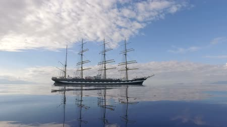 ancorare : Old Four-Masted Barque In The Calm Mirror-Smooth Sea On The Background Of The Mountain Coast. Sailing Ship