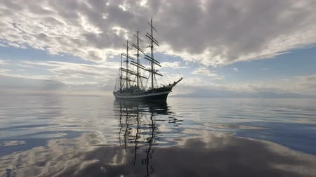 přímořská krajina : Aegean Sea - OCTOBER 2016. Russian Training Sailing Ship. Old Four-Masted Barque In The Calm Mirror-Smooth Sea On The Background Of The Mountain Coast.