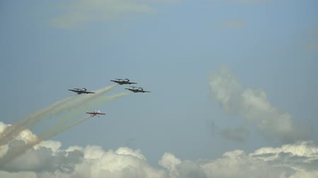 letadlo : three jet and one Plane at Air Show