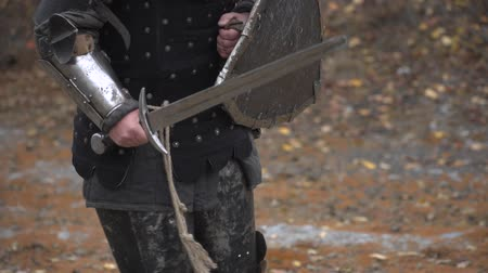 munitions : A knight carries a shield and a sword in his hands