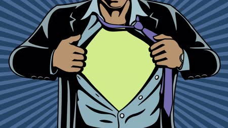 kahraman : Animation of superhero revealing his true identity by tearing his shirt and jacket off. Comic book style. Add your logo on the shirt.