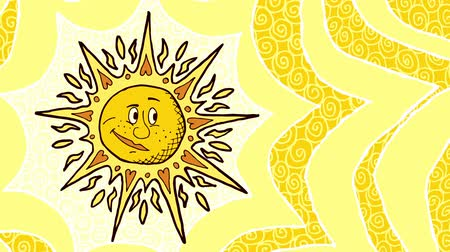 caráter : Looping animation with cartoon sun.  Vídeos