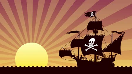 pirat : Looping animation of pirate ship at sunset.