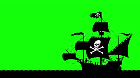 pirat : Looping animation of pirate ship on green screen.